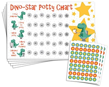 image about Printable Potty Charts for Toddlers identify Potty Doing exercises Advantage Chart with 189 Star Stickers for Infant Boys Or Women - Dinosaur Topic - Superior 11 x 17 Dimension
