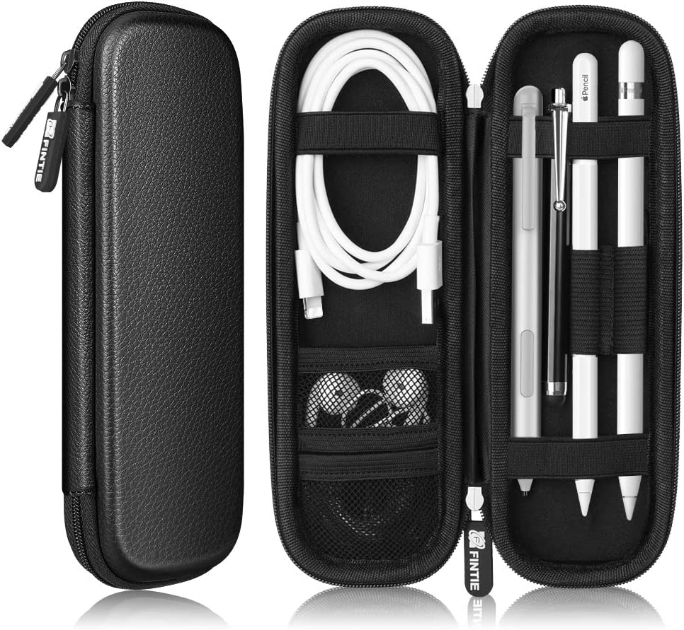 Fintie Holder Case for Apple Pencil 1st 2nd Gen, PU Leather Carrying Bag Sleeve for iPad Pro, iPad 2020 Pencil, Apple Pen Accessories, USB Cable, Earphone, Samsung Stylus, Black