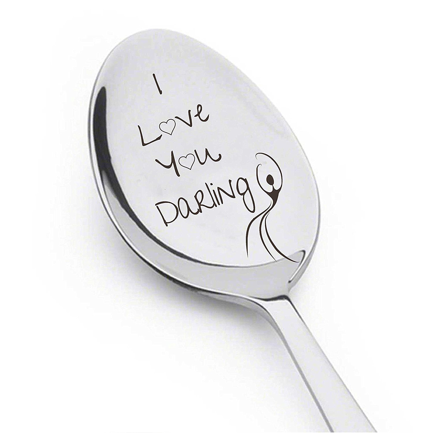 I Love You Darling With dancing Girl - Cute Gift - Engraved Spoon - Silverware Spoon Anniversary Gift - Wedding Gift - Girlfriend - Wife