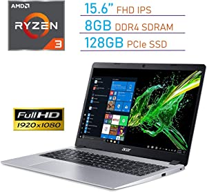 Acer Aspire 5 15.6'' FHD (1920x1080) IPS Display Laptop PC, AMD Ryzen 3 3200U, 8GB DDR4, 128GB SSD, Backlit Keyboard, Webcam, HDMI, Acer TrueHarmony Audio, Bluetooth, Windows 10 w/Tigology Mousepad