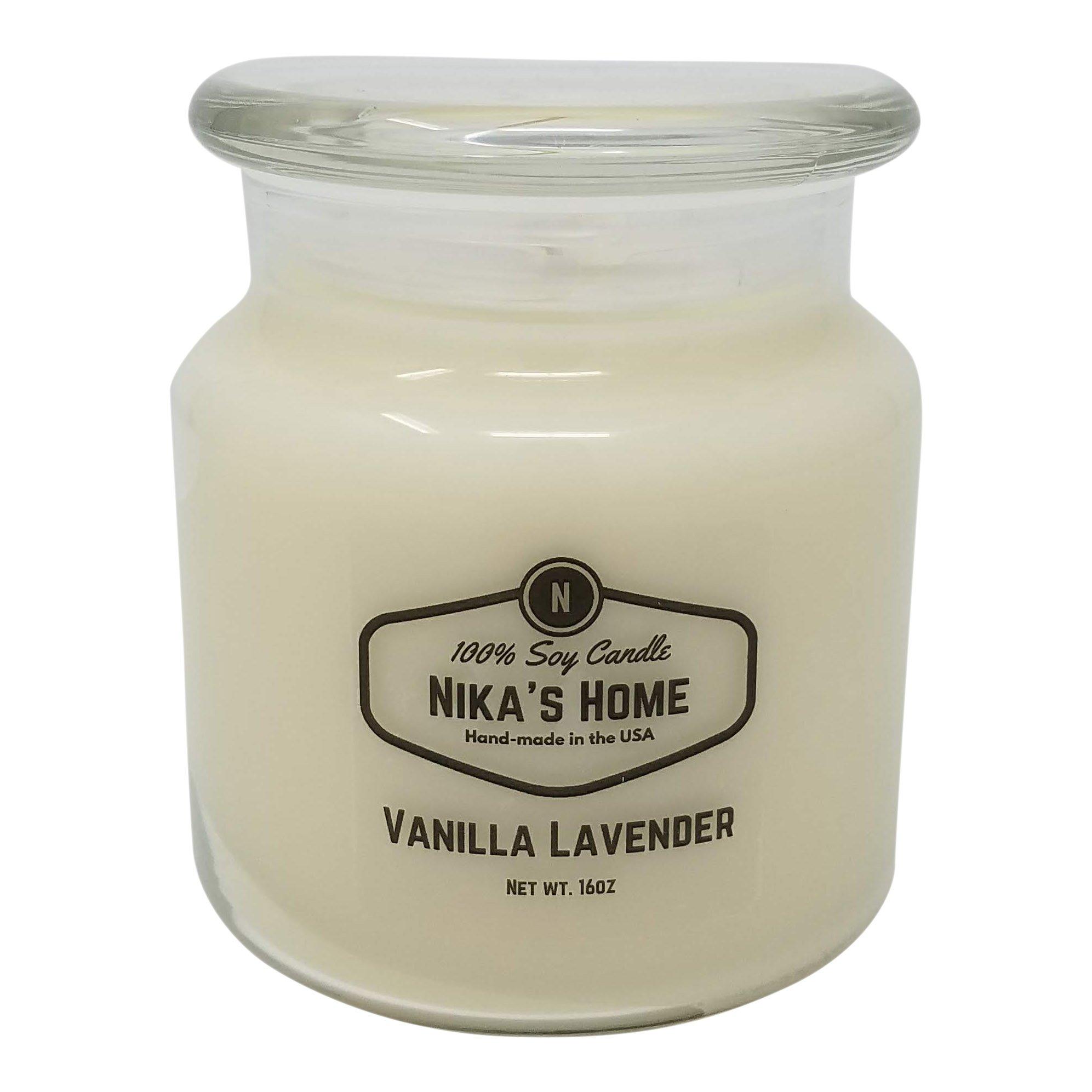Nika's Home Vanilla Lavender 16oz Apothecary Soy Candle
