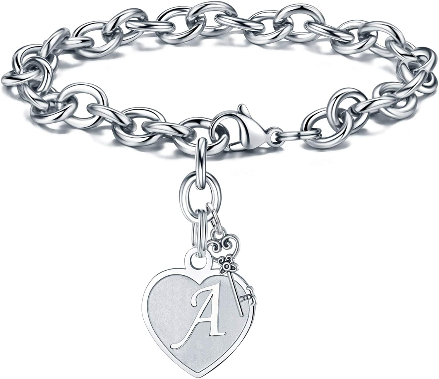 Amazon.com: Initial Charm Bracelet for Women - Engraved Letter A Initial Bracelet Womens Stainless Steel Heart Letter Charm Bracelet Adjustable Birthday Christmas Valentines Gifts for Her Women Teen Girls: Jewelry