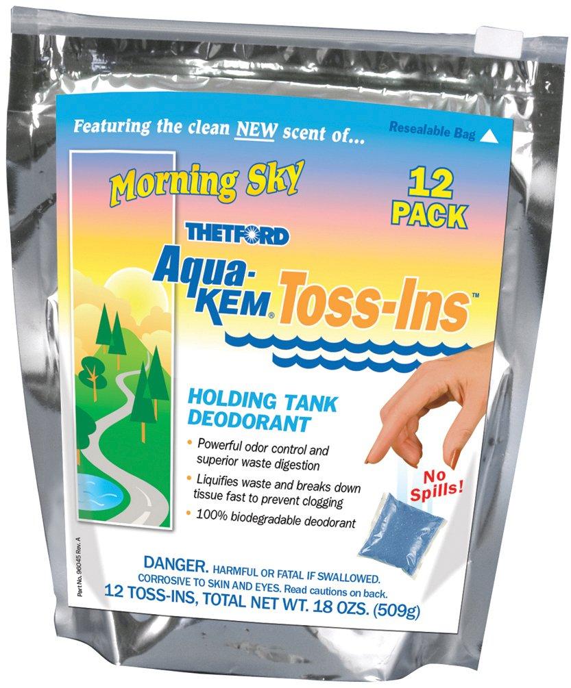 Aqua-Kem Morning Sky Toss-Ins RV Holding Tank Treatment - Deodorant / Waste Digester / Detergent - Pack of 12 - Thetford 96012 by Thetford