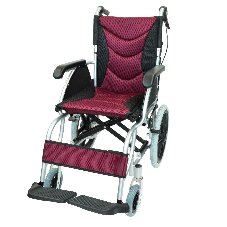 ケアテックジャパン 介助式 アルミ製 車椅子 CA-42SU ハピネスプレミアム -介助式- (ワインレッド) B01N230Z1F  ワインレッド