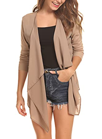 cddc0ad157 Abollria Womens Cardigans Autumn Winter Chiffon Lightweight Long Sleeve  Waterfall Open Front Cardigan Pockets  Amazon.co.uk  Clothing
