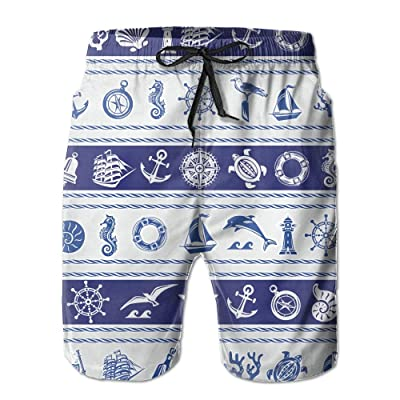 ZAPAGE Man Navigation Elements Quick Dry Lightweight Board Shorts Printed Sports Men's Surfing Boardshorts with Pocket