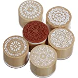 6 Assorted Wooden Rubber Stamp Round Handwriting Floral Flower Craft