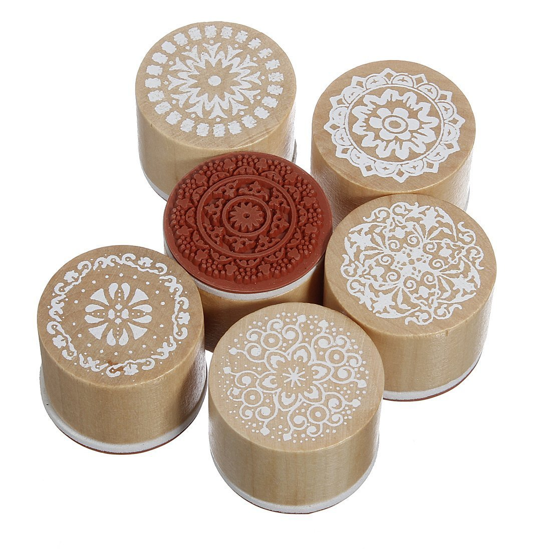 Ruikey Wooden Stamper Stamp Floral Round Handwriting Craft for Scrapbook Card Making 6pcs