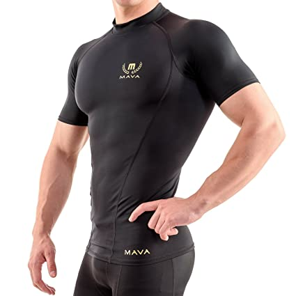 44f570cdad3d Mava Sports Men s Short Sleeve Compression T Shirt - Workout Baselayer  Shapewear (Black   Gold