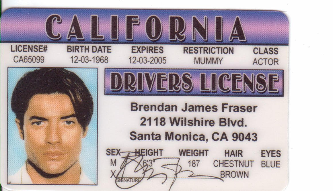 Fake Amazon com d Outdoors James License Sports Identification I Drivers Brendan amp; Fraser Novelty