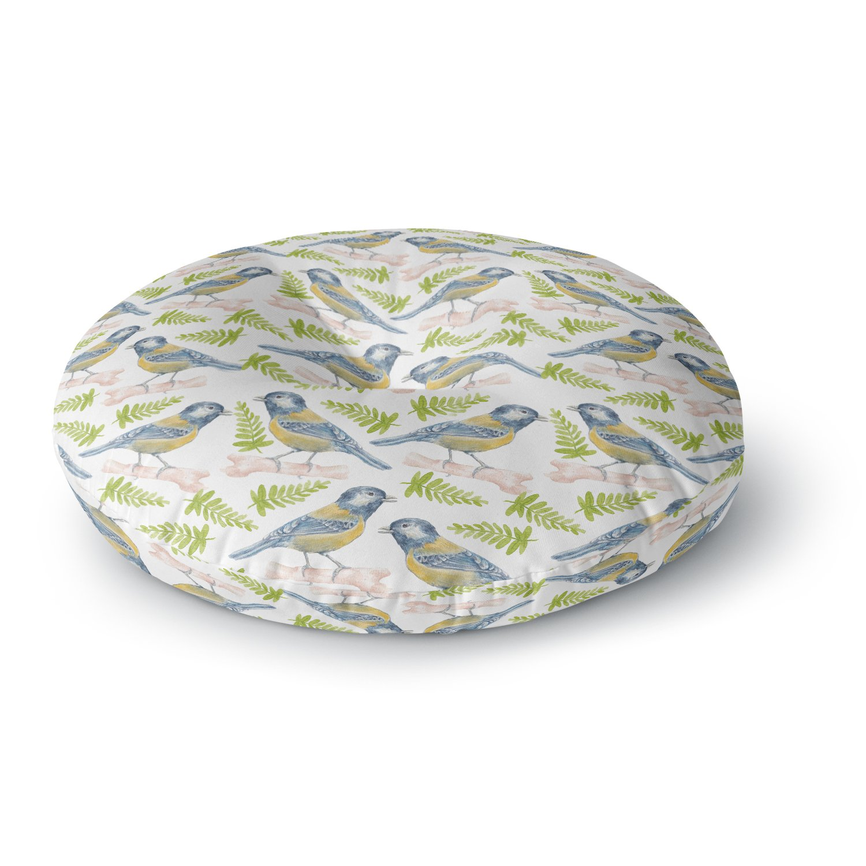 26 Round Floor Pillow Kess InHouse Alisa Drukman Bird Tit Green Pattern