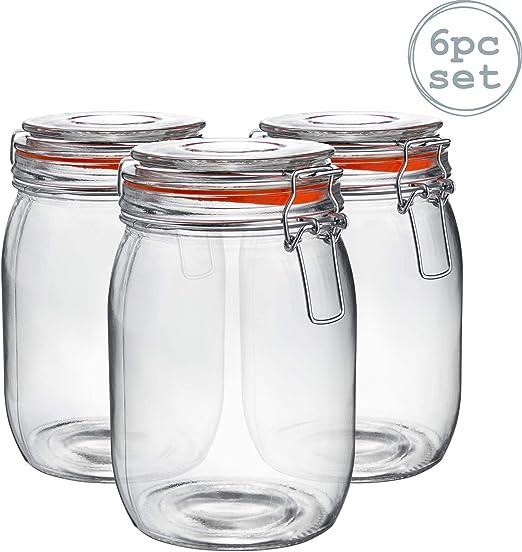 Glass Storage Jars Airtight Clip Top Lid Food Preserve Preserving Jar 500ml x6