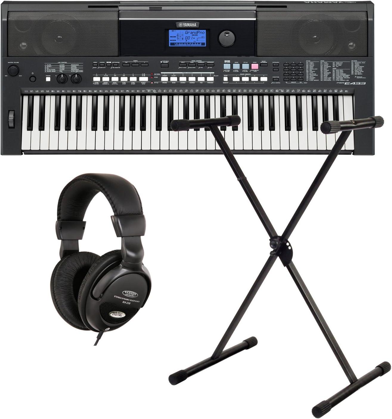 Yamaha PSR E433 Keyboard Set Soporte + Auriculares: Amazon.es ...