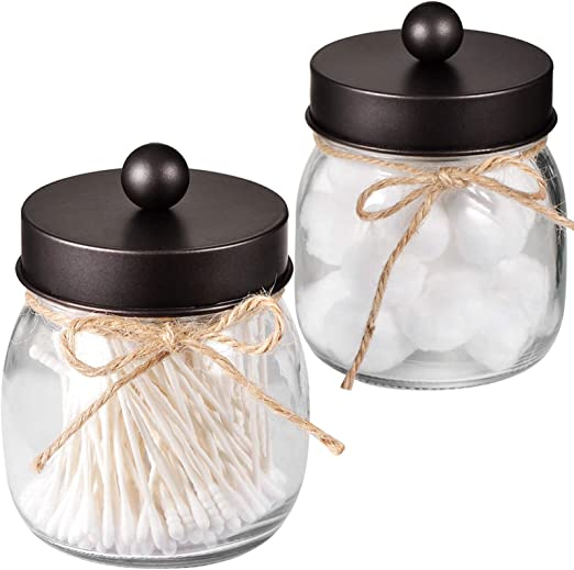 Mason Jar Bathroom Apothecary Jars - Rustproof Stainless Steel Lid,Farmhouse Decor,Bathroom Vanity Storage Organizer Holder Glass for Cotton Swabs,Rounds,Ball,Flossers(Bronze, 2-Pack)-Patent Pending