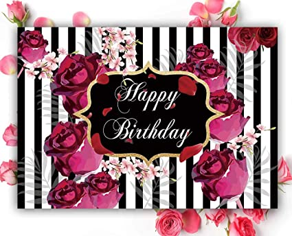 Funnytree 7x5ft Floral Happy Birthday Party Backdrop Roses Flowers Black And White Stripes Girl Adult Photography