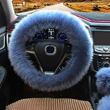 Black 1 Set 3 Pcs Steering Wheel Cover Faux Wool Hand Brake Set Warm Winter