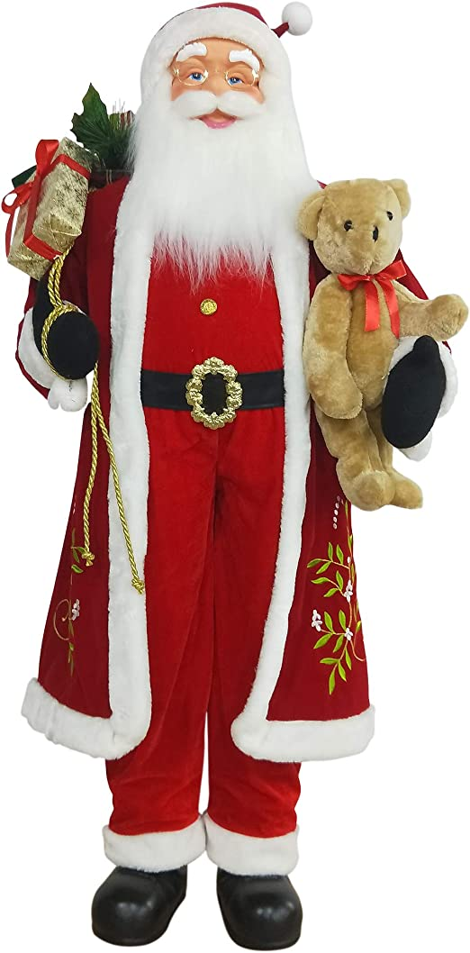 Amazon Com Northlight 5 Life Size Standing Santa Claus Christmas Figure With Teddy Bear And Gift Bag Home Kitchen