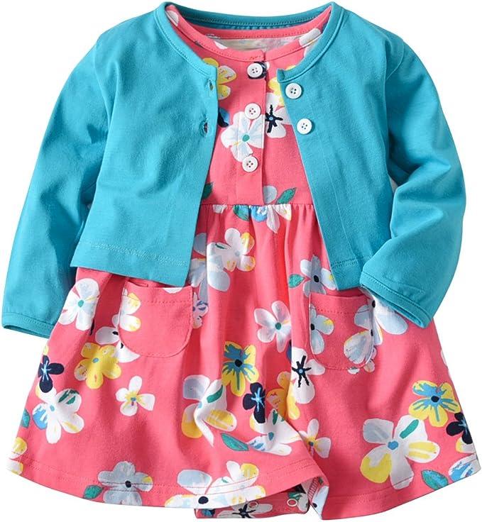 Amazon.com: Conjunto de vestido de manga larga para bebé y ...