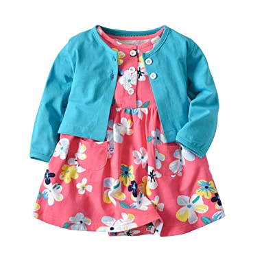dd6dc32e038c7 Baby Girls Dress Set Long Sleeve Coat + Floral Toddler Romper Dresses 2Pcs  Baby Girl Set