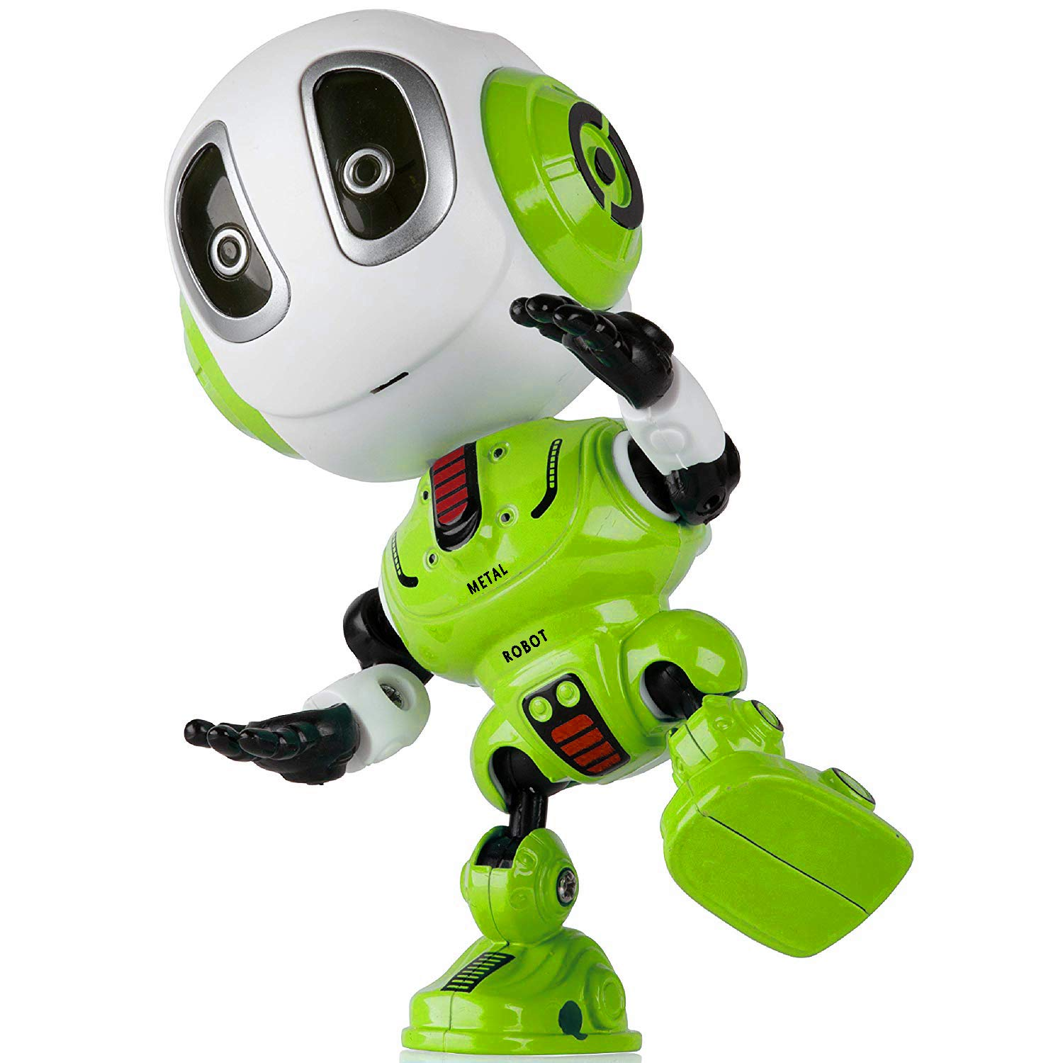 Sopu Talking Robot Toys Repeats Whatever You Say Kids Robot Toy Metal Mini Body Robot with Repeats Your Voice, Colorful Flashing Lights and Cool Sounds Robot Interactive Toy for Boys and Girls (Green)