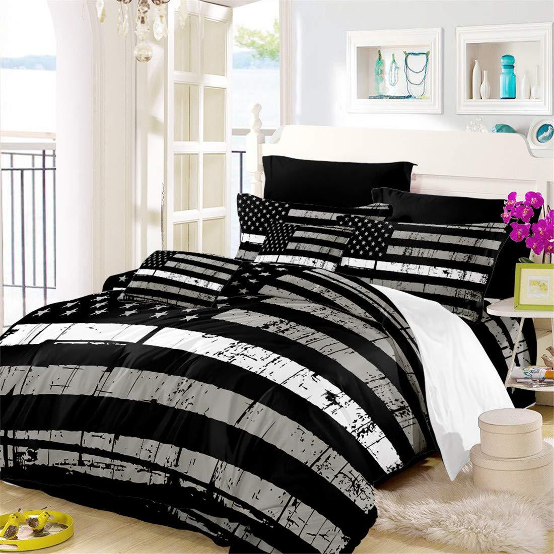 Oliven American Flag Quilt Cover Full Size Valor Patriot Theme Digital Duvet Cover 3 Piece Bedding Set,Black White Gray