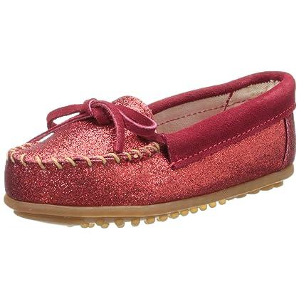 Minnetonka Glitter Moc,Hot Pink,3 M US Big Kid