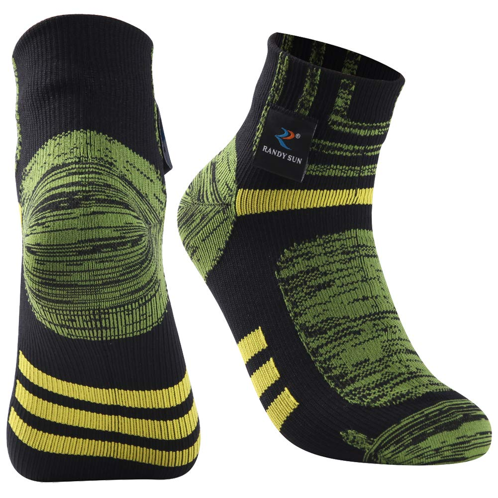 Tennis Socks, RANDY SUN Men and Women Running Comfort Ankle Athletic Breathable 100% Waterproof Quick Dry Socks, 1 Pair-Black&Green-Ankle socks,Small by RANDY SUN