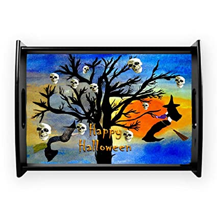 halloween mermaid witch on beach serving tray from my art small 14