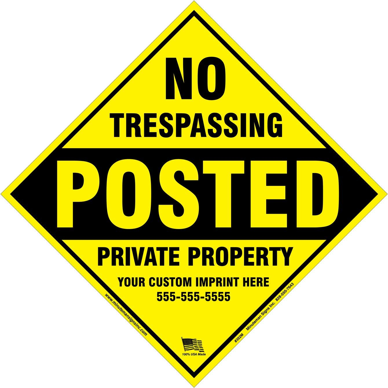 x100 Customized Metal Diamond No Trespassing Posted Sign with your information (Yellow)