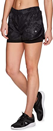 RBX Active Womens Workout Running Shorts with Attached Bike Short