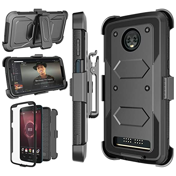 reputable site fd189 d3b02 Moto Z3 Play Case, Moto Z3 Case, 2018 Motorola Z3 Play Holster Clip, Njjex  [Nbeck] Shockproof Heavy Duty Built-in Screen Protector Rugged Locking ...