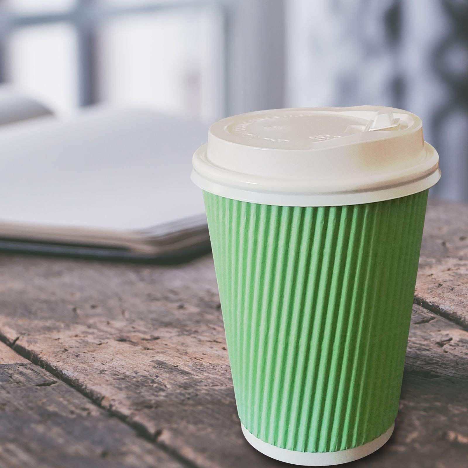 60 Pack -12 oz Premium Quality Disposable Hot Paper Coffee Cups With Lids - Ripple Wall With Insulation For Heat Protection,No Leak Lid,No Sleeves Needed,Perfect To Go,Office,Bars,Parties & Travel by FarSmart (Image #5)