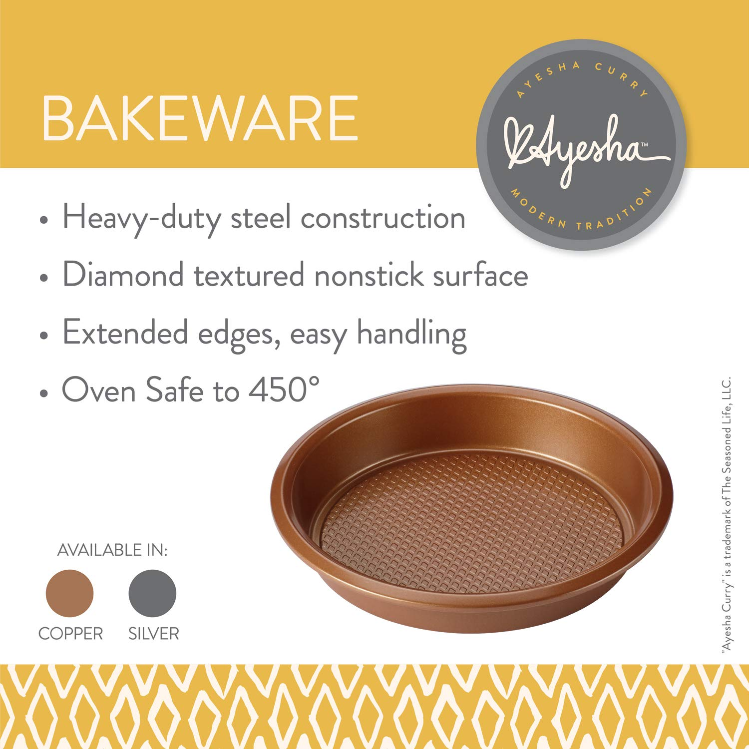 Ayesha Bakeware (9'' x 13'', (no cover), (Pack of 3), Copper) by Ayesha Curry Kitchenware (Image #1)
