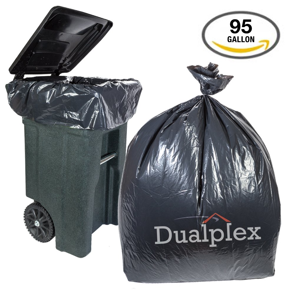 f959f9be4fdfb Details about Dualplex 95 Gallon Black Trash Bags 2 Mil, 25 Bags Per Case  61