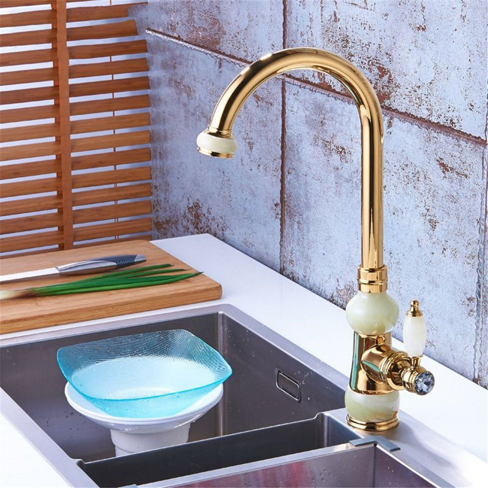 Gyps Faucet Basin Mixer Tap Waterfall Faucet Antique Bathroom Mixer Bar Mixer Shower Set Tap antique bathroom faucet gold plated kitchen sink dish washing basin to redate the full copper white jade ho