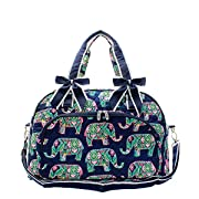 N. Gil Quilted Weekender Duffel Bag (Elephant Navy Blue)