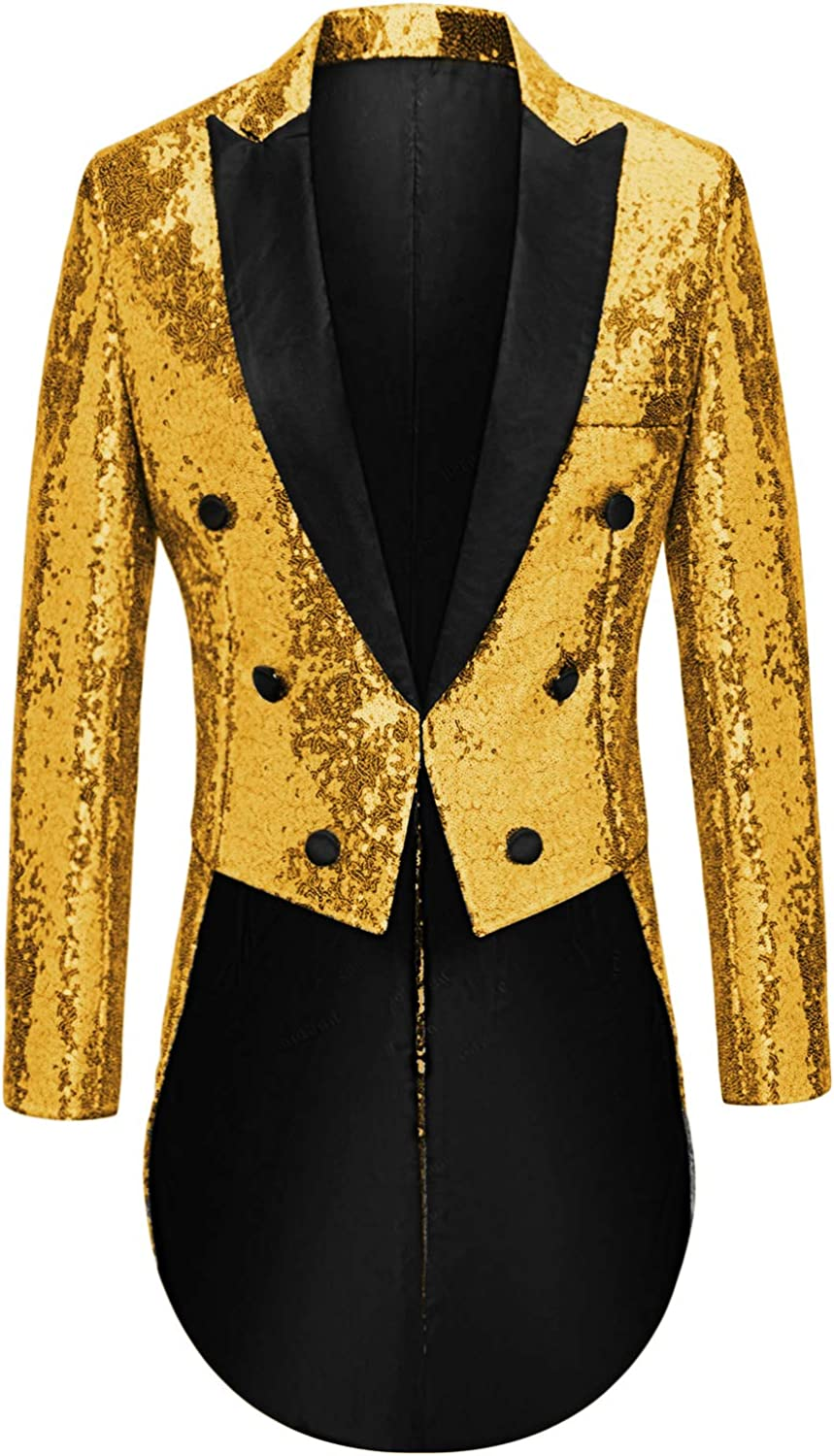 MAGE MALE Mens Sequin Tuxedo Jacket Tails Slim Fit Tailcoat Dress Coat Swallowtail Dinner Party Wedding Blazer Suit Jacket
