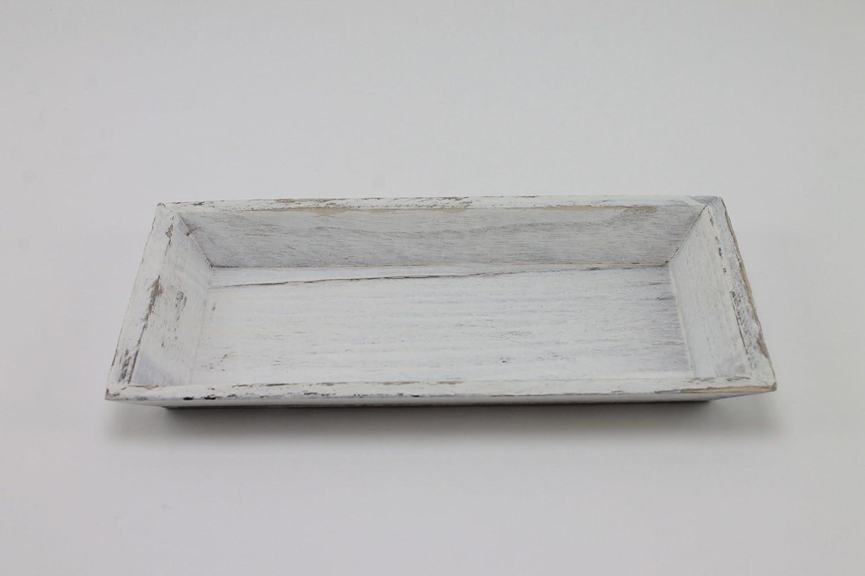 Legno vassoio porta candele bianco lavato 30/x 16/x 2,5/cm Shabby Chic