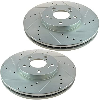 Nakamoto Performance Drilled /& Slotted Front Coated Brake Rotor Pair for Lexus