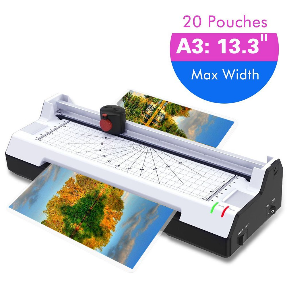 Thermal Laminator Machine for A3/A4/A6, Abwei Laminating Machine 2 Roller System with Rotary Trimmer, Corner Rounder, 20 Laminating Pouches, Fast Warm-up, for Home and Office Use (A3 Laminator)