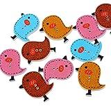 Souarts Mixte Forme de Oiseau 2 Trous Boutons en Bois Lot de 50pcs