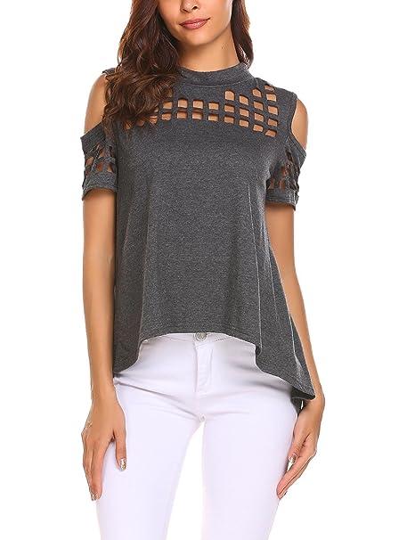 a695a5988a9da Dealwell Women s Cold Shoulder Hollow Out Tee Shirts Short Sleeve Casual  Tops (Charcoal Grey XL