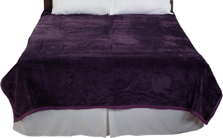 Lavish Home Solid Soft Heavy Thick Plush Mink Blanket 8 Pound - Purple