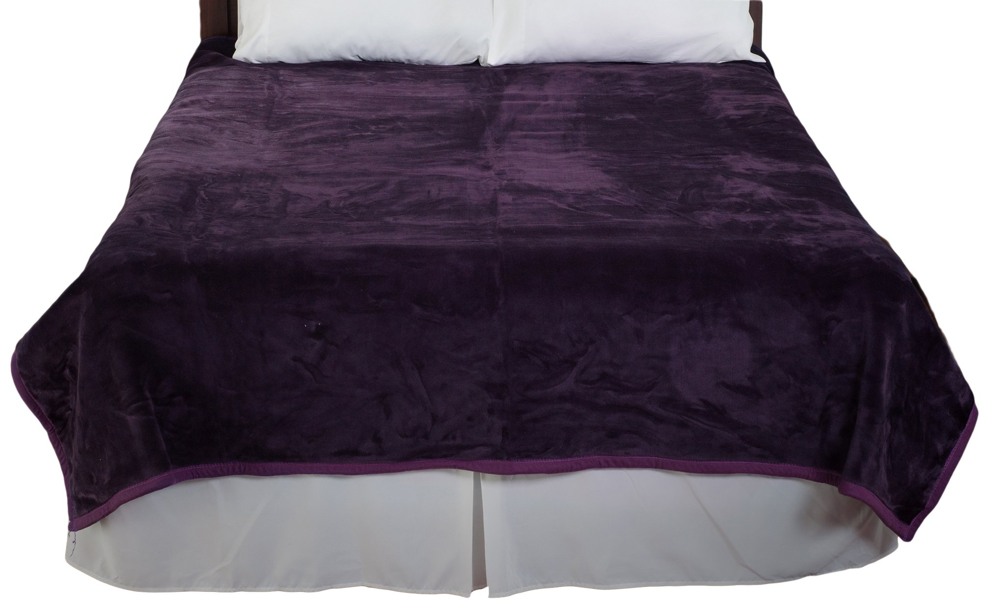 Bedford Home Solid Soft Heavy Thick Plush Mink Blanket, 8-Pound, Purple