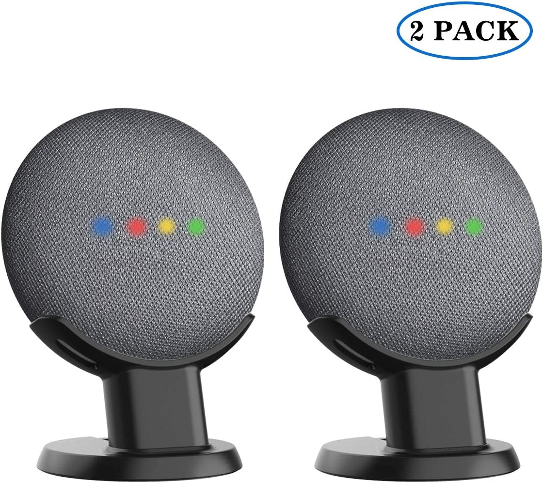 SPORTLINK Pedestal for Nest Mini (2nd Gen) and Google Home Mini Improves Sound Visibility and Appearance - A Must Have Mount Holder Stand for Nest Mini (2nd Gen)/ Google Mini (Black-2 Pack)