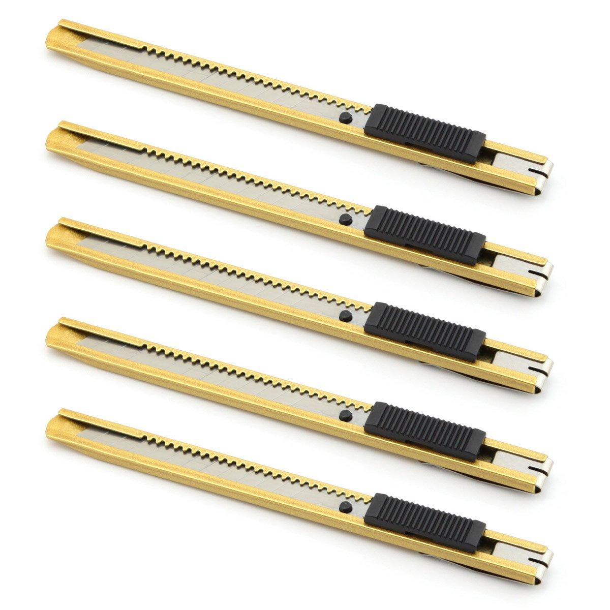 Owfeel Pack of 5 Pcs 9mm Aluminum Auto-lock Utility Knife Box Cutter Golden