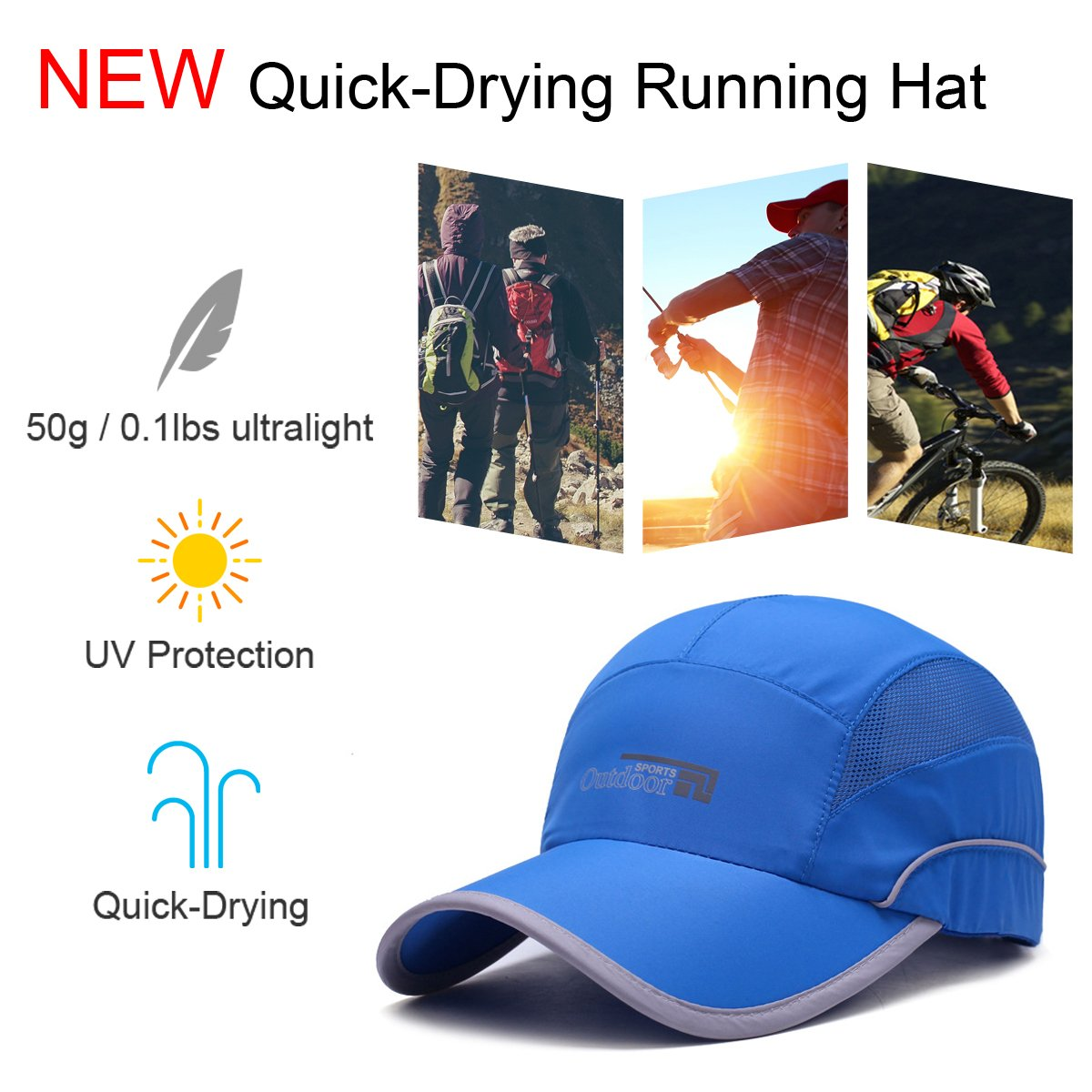 Gisdanchz Mesh Quick Dry Hat,Womens Running Hat,UV Protection Breathable Outdoor Hats for Men Baseball cap Running Fishing Hiking Sport Hat Under 10 Women UPF Quick-Drying Caps Blue