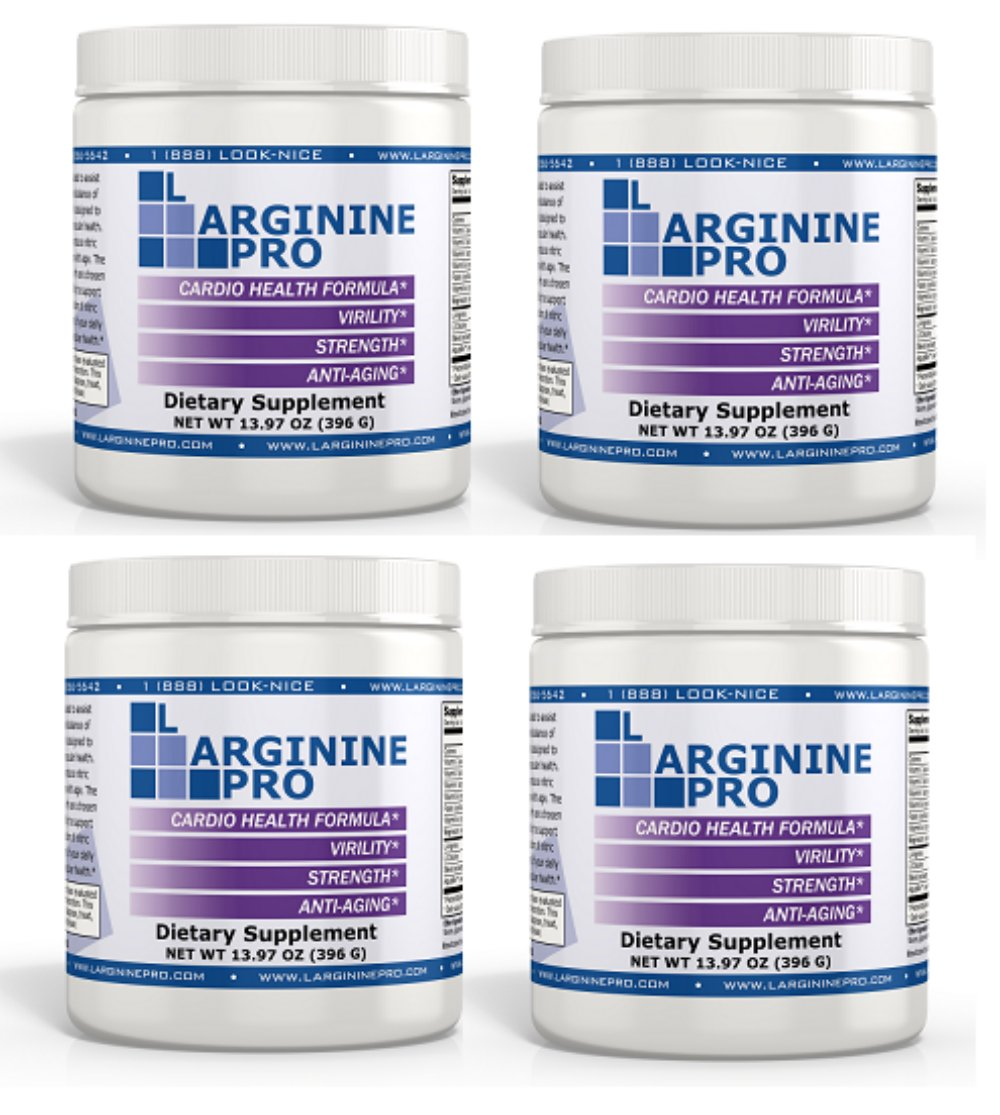 L-arginine Pro, 1 Now L-arginine Supplement - 5,500mg of L-arginine Plus 1,100mg L-Citrulline + Vitamins & Minerals for Cardio Health, Blood Pressure, Cholesterol, Energy (Berry, 4 Jars)