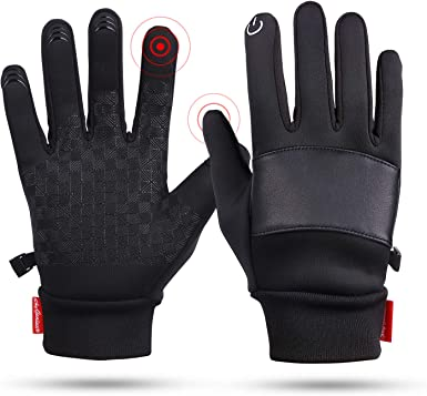 Red, X-Large Winter Warm Gloves Touch Screen Gloves Waterproof Fleece Zipper Pocket Gloves Skiing Cycling Outdoor Sport Cold Weather Gloves for Men/&Women