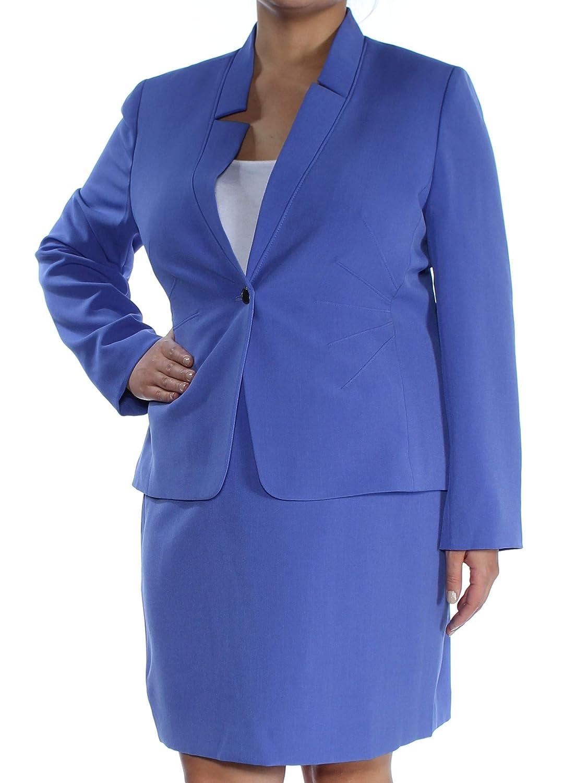 Deep Lavender Tahari ASL Womens Petites 2 PC Work Wear Skirt Suit